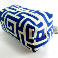 Abstract Makeup Bag, Cosmetic Pouch, Pencil Case, Blue and white, Zippered, Travel, On the go, For her, Under 10, Cute, Small