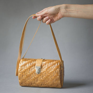 Vintage Woven Straw Box Handbag for Women. Tan Rattan Purse Bag. Summer Shoulder Bag Straw. Handmade Bag Small Boho Cross body bag retro