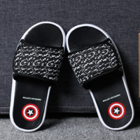 Black Captain America Beach Shoes Slippers