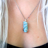 Larimar in polished sterling silver pendant