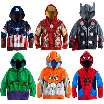 Kids Jacket Superhero Avengers Hulk Ironman Captain America Coats Thor Cosplay Boys Hoodie Long Sleeves Spring Autumn Clothing