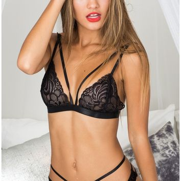 Wild Obsession bralette set in black lace Produced By SHOWPO