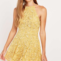 Kimchi Blue Loraine Yellow Lace Dress - Urban Outfitters
