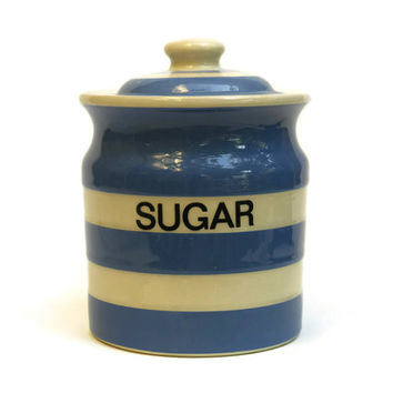 10% OFF T G Green Cornish Blue Cornish Ware Sugar Jar. White and Blue Kitchen Storage Canister. Blue Stripe Ceramic Jar.