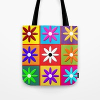 Pop Daisy Tote Bag by Miss L In Art