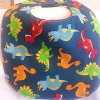 Dinosaurs Handmade Baby Bib with Personalized Matching Burp Cloth