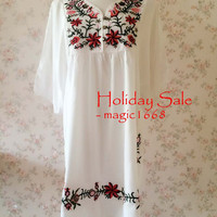 White Plus Size Clothing Maternity dress Loose Cotton Dress Vintage Inspired Dress Midi Dress Tunic Dress Embroidery Dress
