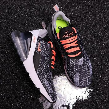 DCCK2 N296 Nike Air Max 270 Flyknit Breathable Running Shoes Black Orange Grey