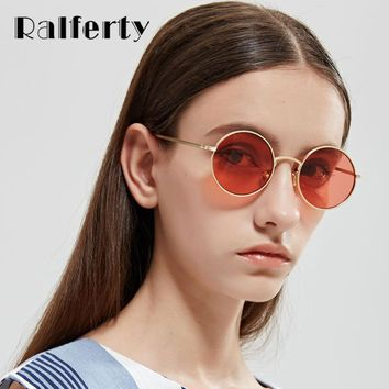 Ralferty Vintage Round Sunglasses Women Men Retro Red Sun Glasses UV400 Small Gold Metal Shades Steam Punk Eyewear Oculos X1317