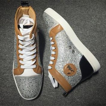 Cl Christian Louboutin Rhinestone Style #1933 Sneakers Fashion Shoes