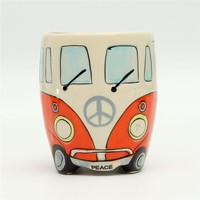 Cute Originality Ceramic Cups Hand Painting Retro Double Decker Bus Mug Coffee Milk Tea Cup Water Bottle Drinkware Mugs