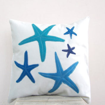 Throw pillow blue turquoise starfish pillow for beach by EarthLab
