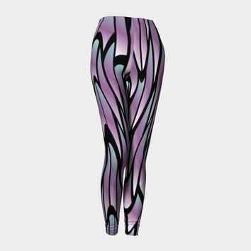 Blue and Purple Psychedelic Abstract Design Leggings