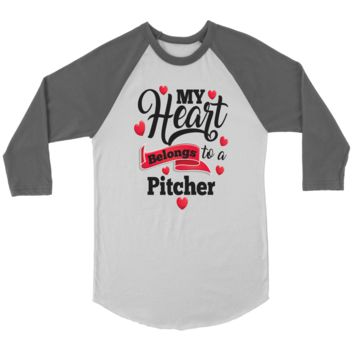 Baseball T-Shirt - My Heart Belongs To A Pitcher