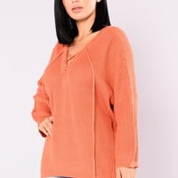 Birch Lace Up Sweater - Rust