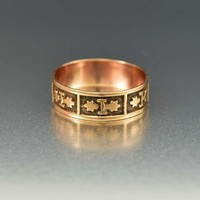Fine Antique Engraved Rose Gold Band Ring