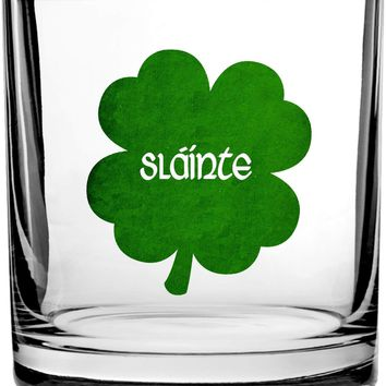 Irish Gaelic Cheers Slainte Green Shamrock Toast - 3D Color Printed Scotch Whiskey Glass 10.5 oz