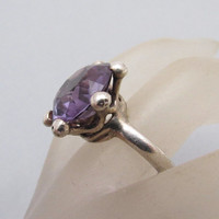 Sterling Alexandrite Ring Eagle 3 JS Taxco Bold Mexican Vintage Jewelry R7162
