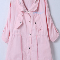 Pink Beauty Print Half Sleeve Coat