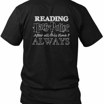Harry Potter Always Reading 2 Sided Black Mens T Shirt