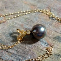 Estate Black Pearl Pendant 14k Gold Chain Necklace 585 Tahitian Black Pearl 5.5 mm Round Pearl Diamond Accent Slide Pendant Gift to Her