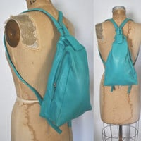 Teal Leather Backpack / Bookbag knapsack