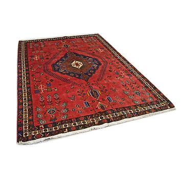 Oriental Shirwan Persian Pure Wool Rug, Red and Blue