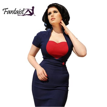 Fantaist 1950s Retro Style Women Summer Heart Pattern Contrast Cut Tunic Cocktail Party Work Wear Bodycon Pencil Vintage Dress