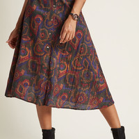 Pepaloves Rally for Retro A-Line Midi Skirt