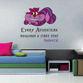 kcik1539 Full Color Wall decal Alice in Wonderland Cheshire Cat quote bedroom children's room