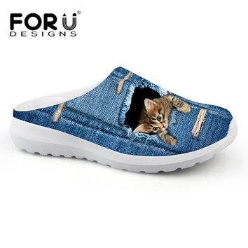 Summer Mesh Beathable Sandals for Women Vintage Denim Blue Home Slippers 3D Animal Cat Print Sandalias Flat Casual Beach Shoes
