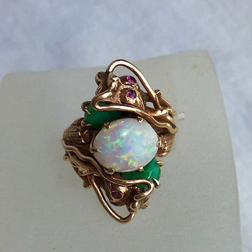 14k dragon ring solid yellow gold huge opal jade by pass ring bypass Art Deco size 8.5 to 9 and HUGE