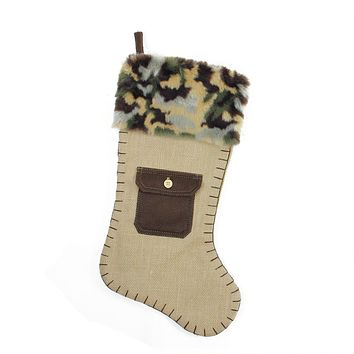 """20.5"""" Burlap and Brown Pocket Christmas Stocking with Camouflage Faux Fur Cuff"""