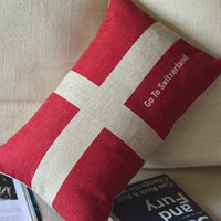 Switzerland Flag Print Decorative Pillow [096] : Cozyhere