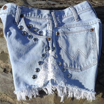 Lace Shorts Cut Offs Studdded High Waisted Blue Jean by twazzy