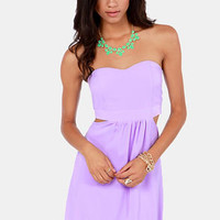 Notch to Mention Strapless Cutout Lavender Dress