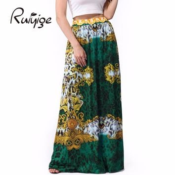 2017 Vintage Style Casual Beach Floral Print Long Maxi Skirts Faldas Summer Milk Silk Floor Length Skirt For Ladies Plus Size
