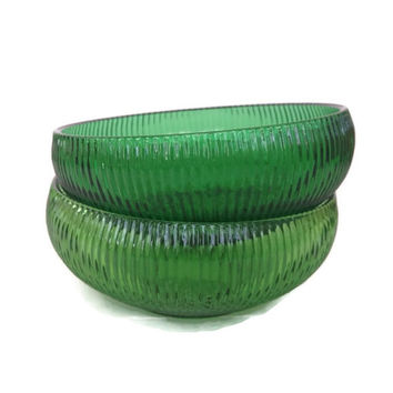 Vintage E. O. Brody Glass -  Ribbed -  Emerald Green Glass Bowls - Set of 2 - 1960's - Cleveland