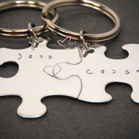 Personalized Keychains, Name Keychains, Couples Keychains, Connecting hearts keychains, Puzzle piece keychains, Valentines Day Gift