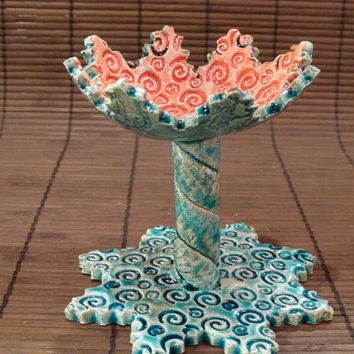 Blue and red candle holder (ready to ship)