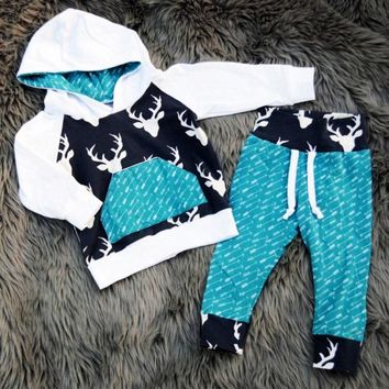USA Hot Kids Baby Boys Girls Reindeer Hooded Tops Pants Xmas Outfits Set Clothes