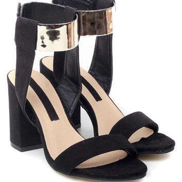 Black Barely There Gold-tone Hardware Detail Heeled Sandals