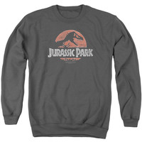 JURASSIC PARK/FADED LOGO-ADULT CREWNECK SWEATSHIRT-CHARCOAL