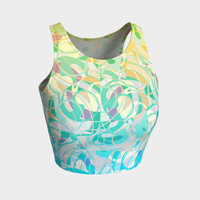 Summer Beach Days Abstract - Yellows and Blues Athletic Crop Top