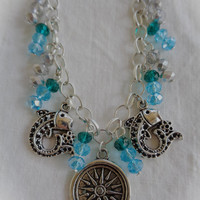 The Age of Pisces Aqua Faceted Crystal Zodiac Bracelet with Fish Charms on a Silver Plate Chain Astrology Sea Ocean Goddess Mermaid Water