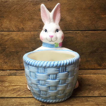 Avon Bunny Rabbit Holding a Blue Basket Candy Dish
