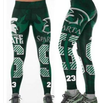 Michigan State Spartan Womens XL Leggings College Football Basketball Sparty