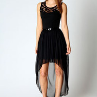 Amy Lace Yoke Chiffon Skirt Mixi Dress