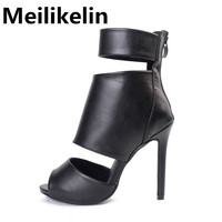 Roman Sandals Women Pumps Black PU Cut-outs Open Toe Stiletto New Style Booties Ladies High Heels Gladiator Shoes Woman