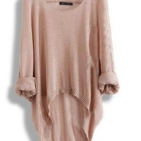 Gray or Apricot Batwing Loose Asymmetric Sweater